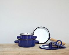 KIDS toys, vintage toy pots pans, enamelware, enamel blue, kitchenware, doll house accessery, girl doll food, girls 1960 sixties toy on Etsy, $20.00