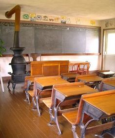 Amish schoolroom...For the first 2 years of school, It attended a one-room school house similar to this.
