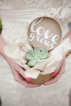 """Love grows"" succulent #wedding #favors. Ooh love the font, I could get down with this! Lush wedding idea!!!"