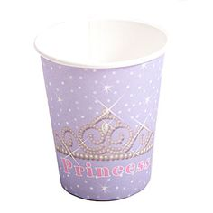 Our Pretty #Princess Paper Cups feature a sparkling tiara and the word Princess on a lavender background with dots and twinkling stars. Each package contains eight party cups.