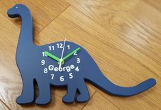 Dippy Dinosaur Clock - can be personalised & any colour.