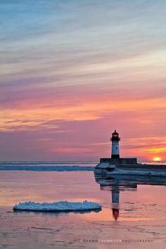sunrise over Lake Superior, Duluth, MN