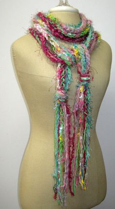 Blush Pink braids Gypsy Fringe Scarf skinny by PurpleSageDesignz, $ 20.00