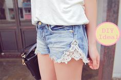 Lace Inset Denim Shorts