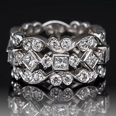 Jack Kelége Diamond Eternity Wide Band Ring Platinum
