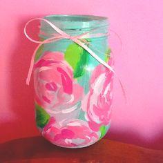 DIY lilly mason jar #Sorority #Crafts