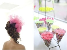 hot pink tulle in the bride's hair instead of a veil! ~ and a seriously awesome modern meets vintage hairstyle - from our Neon Wedding Shoot!