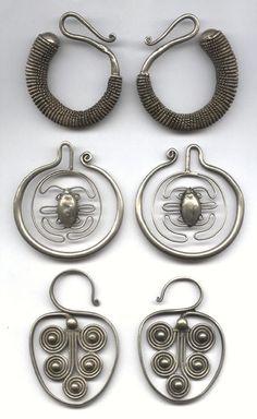 antique asian tribal earrings