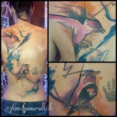 The hand prints weren't done by me. #watercolor #watercolortattoo #watercolorpainting #watercolour #watercolourtattoo #watercolortattoos #watercolourtattoos #tattoo #colortattoo #abstract #abstracttattoo #abstractwatercolortattoo #bird #birdtattoo #watercolorbird #watercolorbirdtattoo #backtattoo #electricink #neotatmachines #thankful
