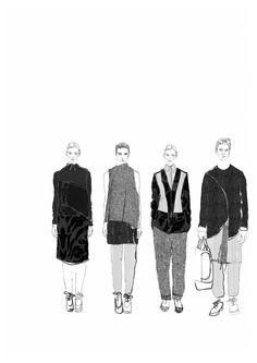 Fashion Sketchbook - fashion drawings; lineup illustrations; fashion student portfolio // Lowri Edwards