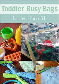 Toddler Busy Bags Under $1. How to create fun activity bags for your little ones for less. Some great, easy ideas here for preschoolers!