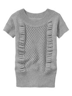 Mixed-stitch short-sleeve sweater   Gap