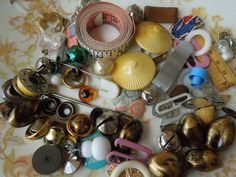Vintage Sewing Basket Odds and Ends by LemonIceBoxPie on Etsy, $8.50
