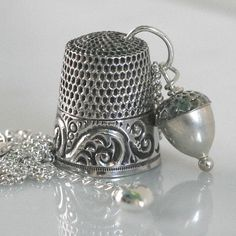Sterling Silver Antique Thimble Necklace Sterling
