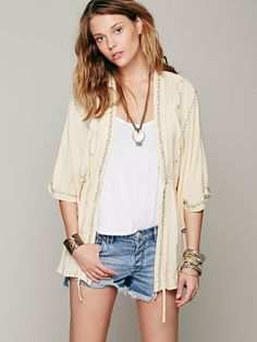 Free People Embroidered Robe, $118.00