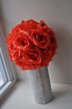 Large Coral Silk Rose Pomander 8 by MyKreations4U on Etsy, $16.00