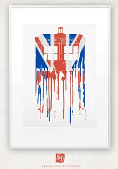 Doctor Who poster minimalistic / abstraction TARDIS / Union Jack. $15.00, via Etsy.