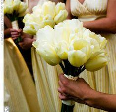 bridesmaids, yellow weddings, wedding bouquets, bridesmaid dresses, flower ideas, tulip bridesmaid, tulips, bridesmaid bouquets, yellow tulip