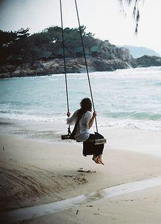 . tree swings, dream, the ocean, at the beach, sea, place, beach life, finding peace, spot