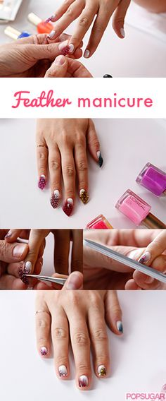 This feather manicure is easy to re-create at home!