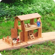 Farmhouse Barn - Wooden Dollhouse & Play Barn by Camden Rose at Palumba | wooden toys, waldorf dolls, puppets & playsilks
