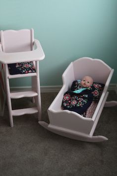 DIY cradle and high chair - cute!