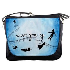 Peter Pan Never Grow Up Custom Messenger Bag School Laptop Bag For Books and Gear on Etsy, $23.99