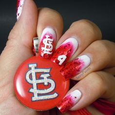 St Louis Cardinals Nails by SassyPaints loui cardin, stloui nail, cardin nail, makeup, st louis cardinals, nail galleri, nail design, nails, nail art