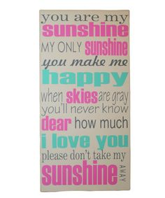 Take a look at this Gray & Pink 'You Are My Sunshine' Wall Art by Vinyl Crafts on #zulily today!