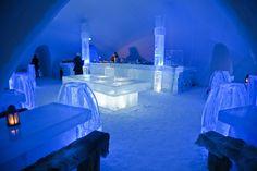 Man-made ice hotel restaurant