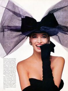 Vogue US October 1986 Christy Turlington wearing Chanel couture, shot by Bill King