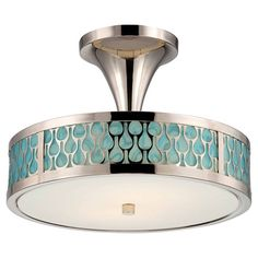 Flush mount with a raindrop motif and polished nickel finish.   Product: Flush mountConstruction Material: Metal and g...