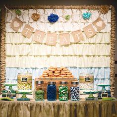 food displays, dessert tables, wedding vintage, dessert buffet, rustic weddings, burlap banners, head tables, treat, backdrop
