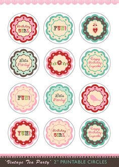 """printable tea party cupcake toppers 2"""" circles digital decorations girl's birthday ideas"""