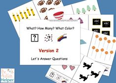 What? How Many? What Color? Version 2 {an adapted book to work on question answering for children with emerging verbal skills} by theautismhelper.com