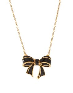 Ted Baker Maia Black And Gold Enamelled Bow Necklace