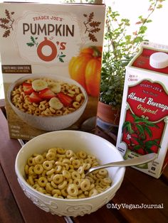 """""""Just found these pumpkin o's at trader joe's and they are GOOD!! Another vegan breakfast option to add to the list! If you want to boost the nutrients, just add bananas, berries or chia seeds!"""" www.MyVeganJournal.com"""