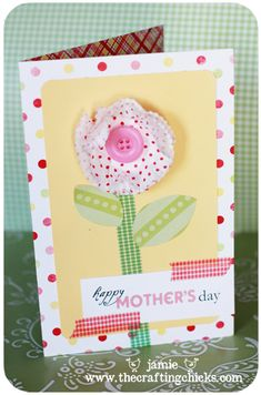cupcake liners as a flower on a card - so cute!