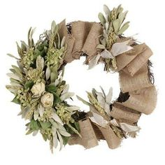 This rose and burlap wreath adds elegance to any door!