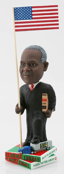 That's right.  It's a bobblehead doll of Supreme Court Justice Clarence Thomas!