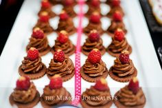 Chocolate Raspberry Mousse Bites      Desserts by: Sugar and Spice Specialty Desserts Photographer: The Memory Journalists