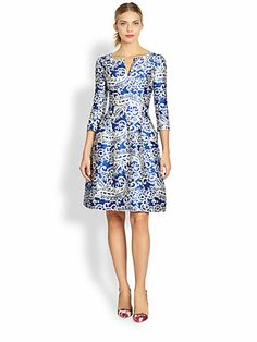 Oscar de la Renta - Filigree Lace Print Dress - Saks.com