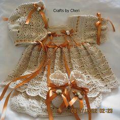 A custom dress set for a newborn baby that I just finished up.   Cheri's Crochet Baby or reborn baby doll clothing or craftsbycheri @ http://craftsbycheri.blogspot.com/#
