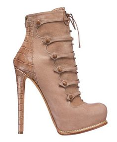 Christian #Dior Neutral Strap Boots with Reptile Print Heels Fall 2011 #Shoes #Booties