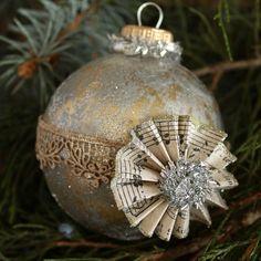 ball ornament, diy gift, vintage ornaments, sheet music, hand made