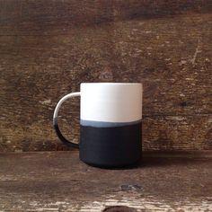 Handmade Danish Mug in White  Black Color by paperandclaystudio, $42.00