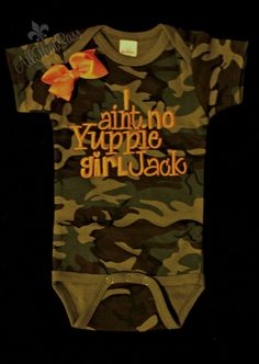 Girls Duck Dynasty Baby Camo Onesie oh my goodness! <3 must have one of these!!! If we ever were to have a baby girl