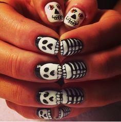 skeleton nails by Michelle Humphrey #nails #nailart #halloween