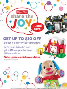 Refer your friends and get a $10 coupon for toys little ones love.