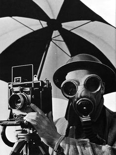 gas masked photographer